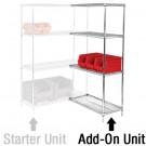 "36 x 12 x 54"" - 4 Shelf Wire Shelving Add-On Unit"