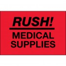"2 x 3"" - ""Rush - Medical Supplies"" (Fluorescent Red) Labels"