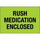 "2 x 3"" - ""Rush - Medication Enclosed"" (Fluorescent Green) Labels"
