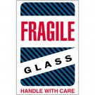 "4 x 6"" - ""Fragile - Glass - Handle With Care"" Labels"