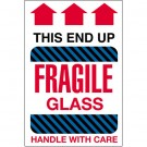 "4 x 6"" - ""Fragile Glass - This End Up"" Labels"