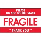 "3 x 5"" - ""Fragile - Do Not Double Stack"" Labels"