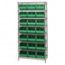 "36 x 18 x 74"" - 8 Shelf Wire Shelving Unit with (21) Green Bins"