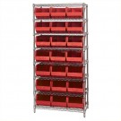 "36 x 18 x 74"" - 8 Shelf Wire Shelving Unit with (21) Red Bins"