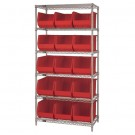 "36 x 18 x 74"" - 6 Shelf Wire Shelving Unit with (15) Red Bins"
