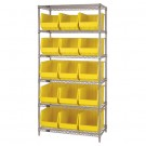 "36 x 18 x 74"" - 6 Shelf Wire Shelving Unit with (15) Yellow Bins"