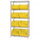 "36 x 18 x 74"" - 5 Shelf Wire Shelving Unit with (8) Yellow Bins"