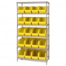 "36 x 18 x 74"" - 6 Shelf Wire Shelving Unit with (20) Yellow Bins"