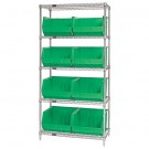 "36 x 18 x 74"" - 5 Shelf Wire Shelving Unit with (8) Green Bins"